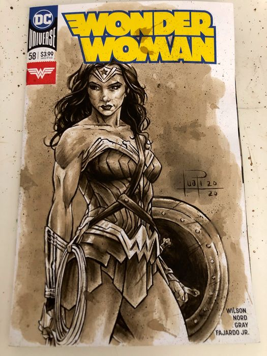 Blank Variant Cover - WONDER WOMAN #58 with original Coffee Painting - Spillato - Copertina vuota (2020)