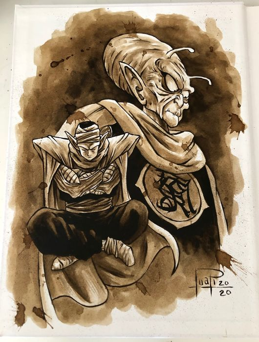 Artbook - THE ART OF JUAPI-COFFEE DRAWINGS with ORIGINAL SKETCH painted with coffee of PICCOLO (Dragon Ball) - Hardcover - Eerste druk - (2019/2020)