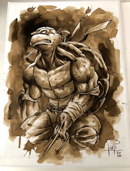 Artbook - THE ART OF JUAPI-COFFEE DRAWINGS with ORIGINAL SKETCH painted with coffee of RAPHAEL (TMNT) - Tapa dura - Primera edición - (2019/2020)
