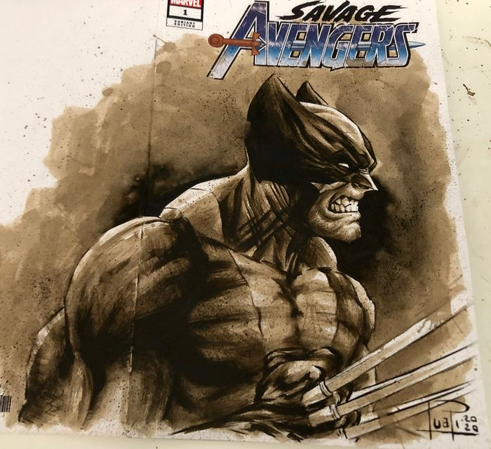 "Blank Variant Cover - SAVAGE AVENGERS #1 ""Wolverine"" with original Coffee Painting - Con grapas - Blank Cover (2020)"