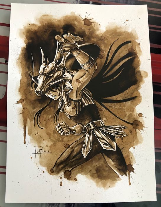 Original Coffee Painting - SHIRYÙ DRAGON (Saint Seiya) - Original Art (2020)