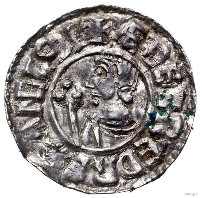 Great Britain - Penny Aethelred II 978-1016 A.D. croux type, 991 - 997 A.D. Winchester mint Aethelgar Minister - Silver