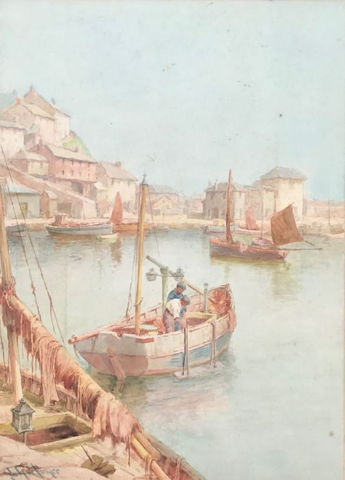 European School (20th Century) - Italian harbour scene