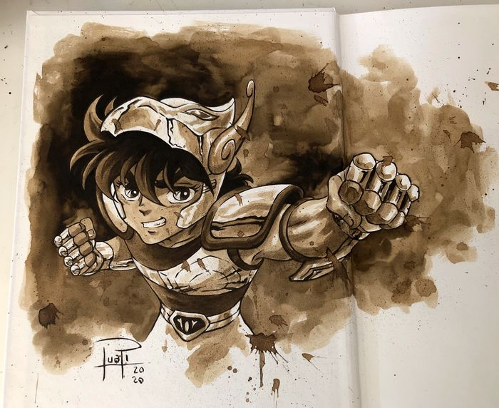Artbook - THE ART OF JUAPI-COFFEE DRAWINGS with ORIGINAL SKETCH painted with coffee of SEIYA (Saint Seiya) - Tapa dura - Primera edición - (2019/2020)