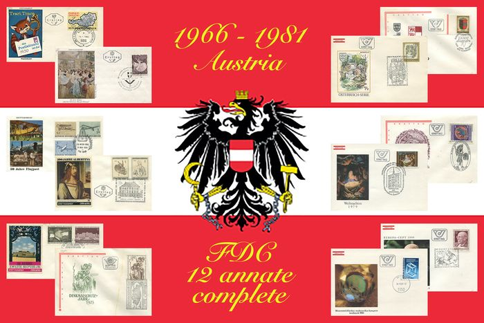 Austria 1966/1981 - 346 FDCs, collection of 12 full years of the period