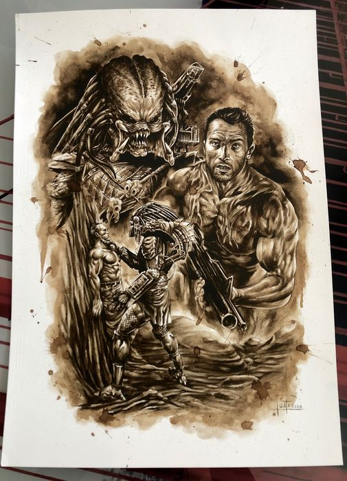 Original Coffee Painting - PREDATOR - Original Art (2020)
