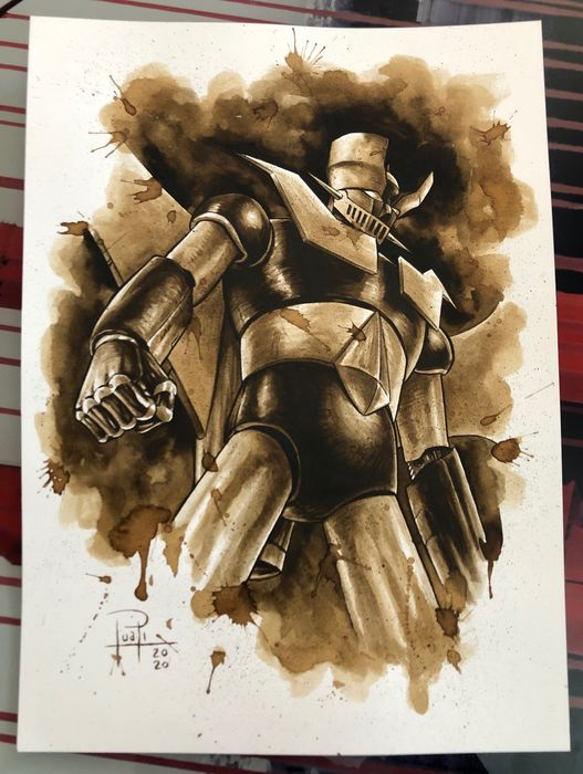 Original Coffee Painting - MAZINGER Z - Original Art (2020)