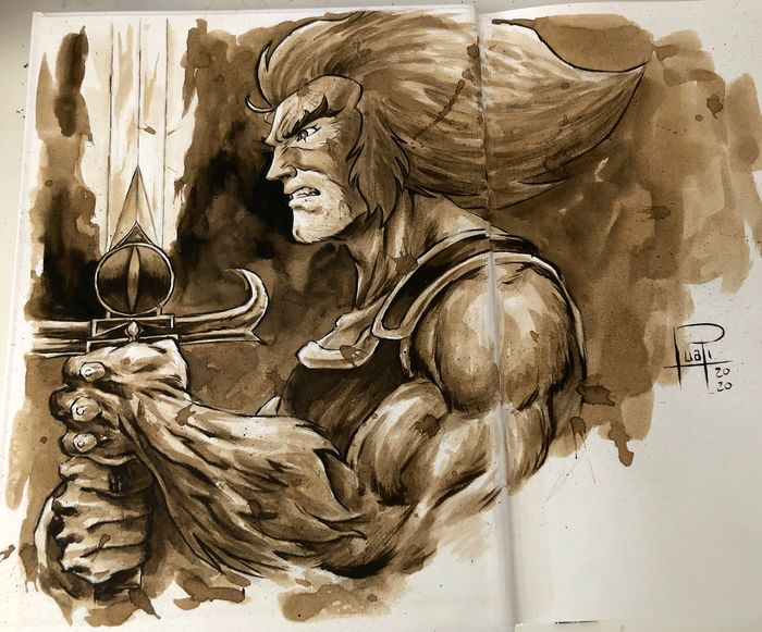 Artbook - THE ART OF JUAPI-COFFEE DRAWINGS with ORIGINAL SKETCH painted with coffee of LION-O (Thundercats) - Tapa dura - Primera edición - (2019/2020)