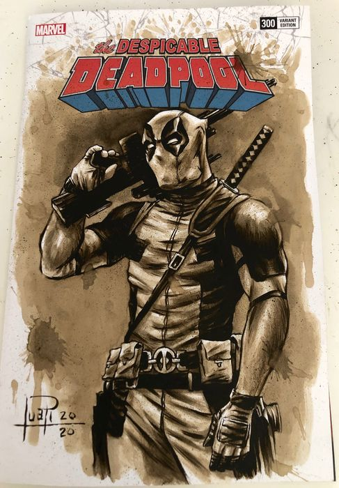 """Blank Variant Cover - THE DESPICABLE DEADPOOL #300 """"special"""" with original Coffee Painting - Con grapas - Blank Cover (2020)"""