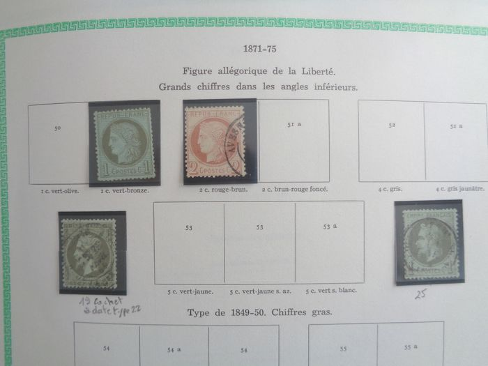 France 1871/1962 - Postage stamps collection, mint and postmarked, in on album pages. - Yvert Entre n°51 et 1320