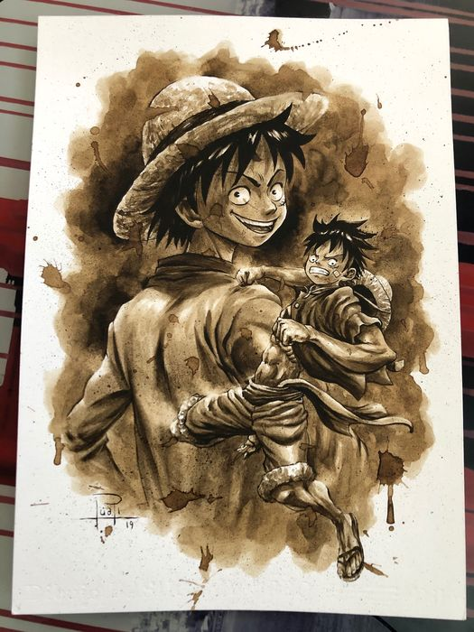 Original Coffee Painting - MONKEY D LUFFY (One Piece) - Originele kunst (2019)
