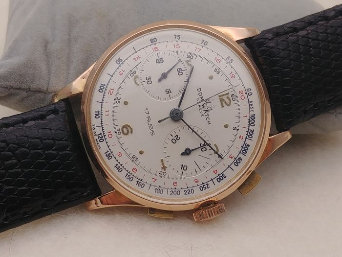 "Dom Watch Geneve - Chronographe Suisse Gold 18k - 194 - 3910 "" NO RESERVE PRICE "" - Men - 1950-1959"