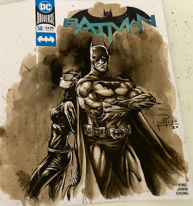 """Blank Variant Cover - BATMAN #50 """"special"""" with original Coffee Painting - Con grapas - Blank Cover (2020)"""