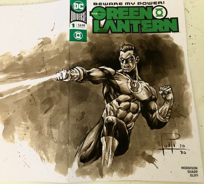 Blank Variant Cover - GREEN LANTERN #1 (Hal Jordan) with original Coffee Painting - Con grapas - Blank Cover (2020)