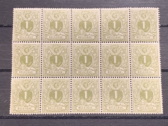 Belgium 1884/1888 - Issue 1884 - 1c Reclining lion in block of 15 with multiple varieties / curiosities - OBP / COB 42