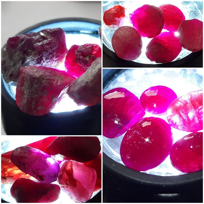Incredible batch Ruby Crystals Route from raw to cut 158.30 ct - 15×12×10 mm - 31.66 g
