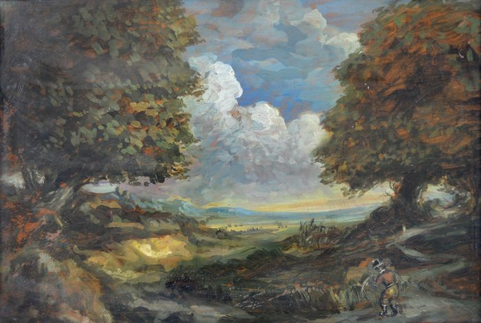 English school (20th century) - A figure in a country landscape