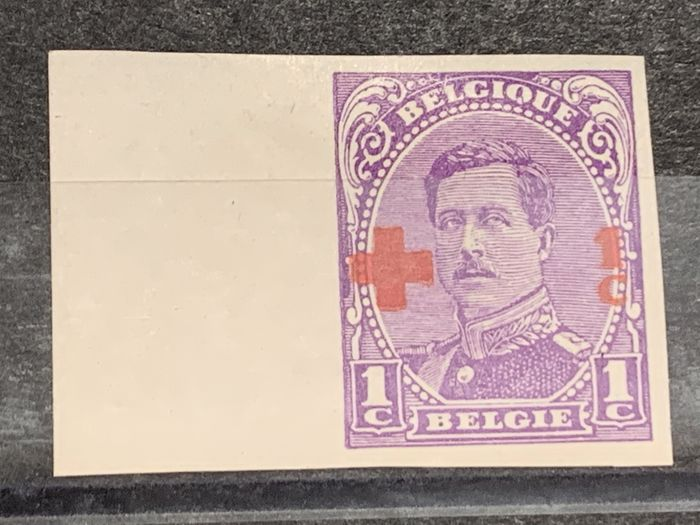 Belgium 1929 - Albert I Red Cross - Colour tests 1c with sheet edge - 11 shades - Stes 3063