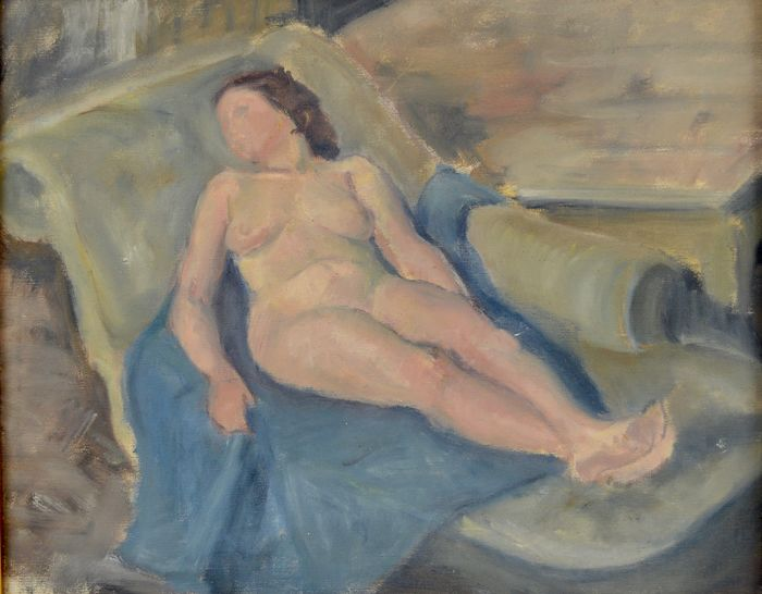 English school (20th century) - A nude woman on a chaise longue