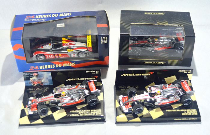 MiniChamps - 1:43 - Collection of 4 Race Cars in packaging  - McLaren, Audi