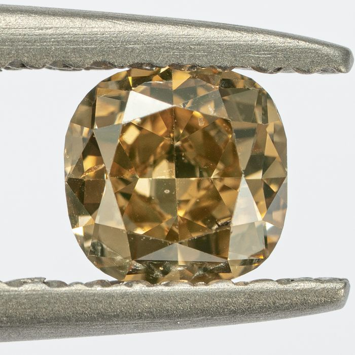 Diamond - 0.54 ct - Cushion, Square - Natural Fancy Orangy Brown - Si1 - NO RESERVE PRICE