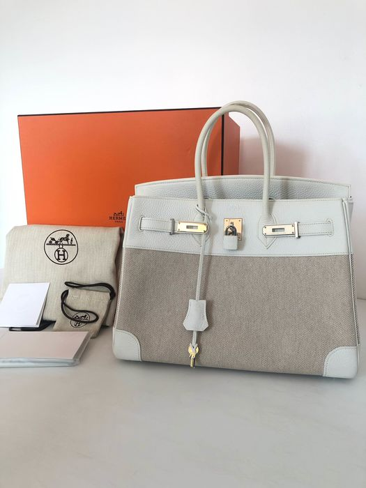 Hermès - Birkin 35 Bi-Matiere White Leather Beige Canvas Borsa a mano