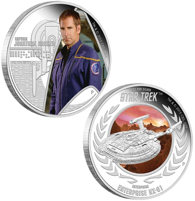 "Tuvalu - 1 Dollar - 2015 - ""CAPTAIN JONATHAN ARCHER ENTERPRISE NX-01"" - Star Trek Set   - 1 Oz - Silver"