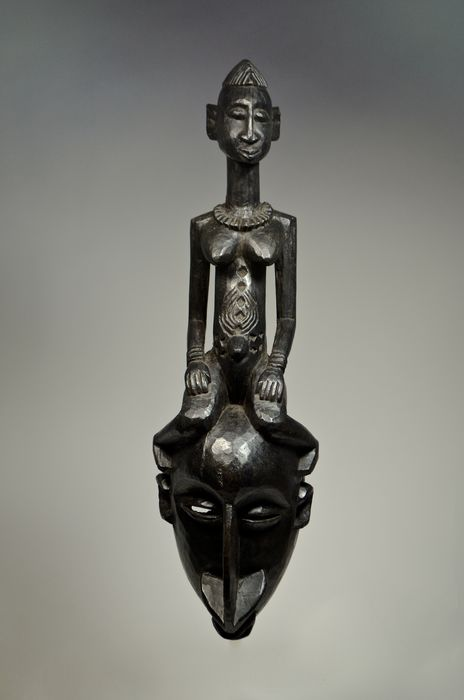 Mask with anthropomorphic figure on top - Wood - Mali