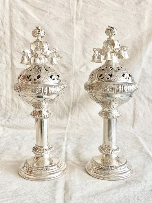 Judaica - A museum quality pair of antique Torah finials -RIMONIM  - .800 silver - Jewish Artist -JZ - Austria - Mid 19th century