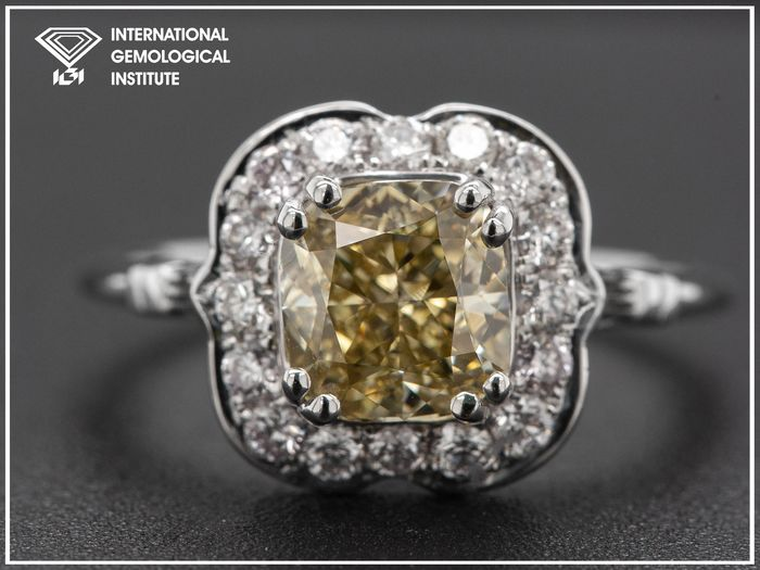 14 kt. White gold, 2.67g - Ring - 2.02 ct Diamond - Fancy Brown Yellow