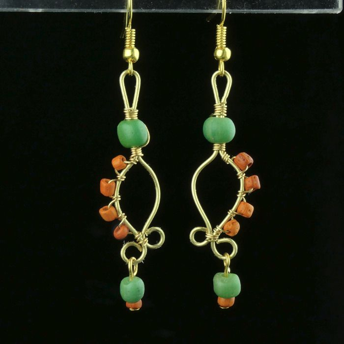 Ancient Roman Glass Earrings with green and orange glass beads - (1)