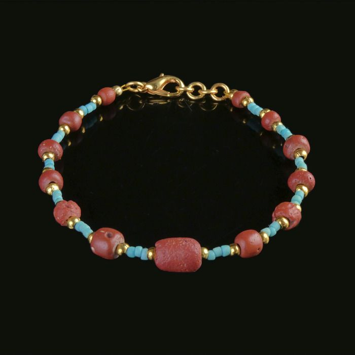 Ancient Roman Glass Bracelet with turquoise and red glass beads - (1)