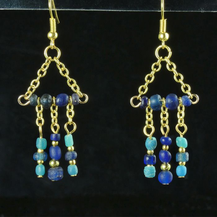 Ancient Roman Glass Earrings with blue and turquoise glass beads - (1)