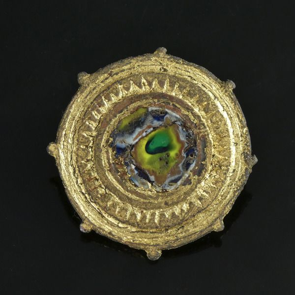 Ancient Roman Gilded Bronze Disc brooch with Millefiori inlay - (1)