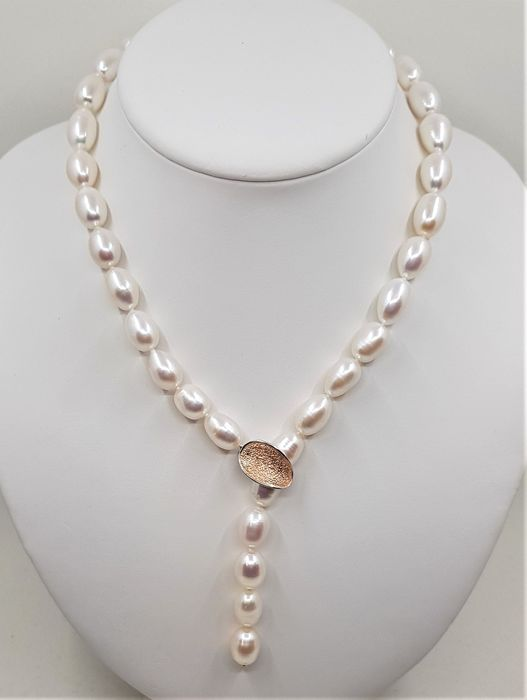 No reserve price - 925 Silver - 10x11mm Lustrous Freshwater Pearls - Necklace