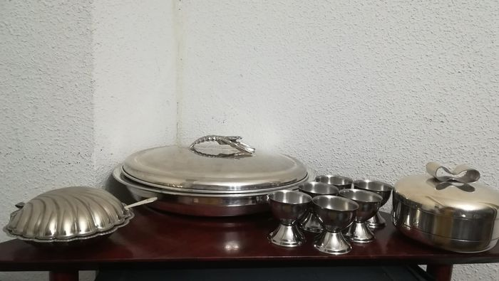 Fish set, Soup bowls, Container for blinis - Silver plated nickel silver