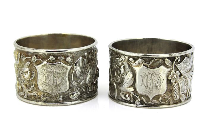Napkin ring, Antique Chinese export silver pair of napkin rings (2) - .900 silver - Woshing - China - Late 19th century