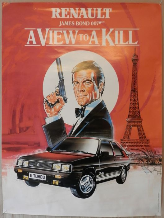 James Bond - A View to a Kill - Roger Moore - Affisch, Very rare 1985 Renault Promotion Art - Original release