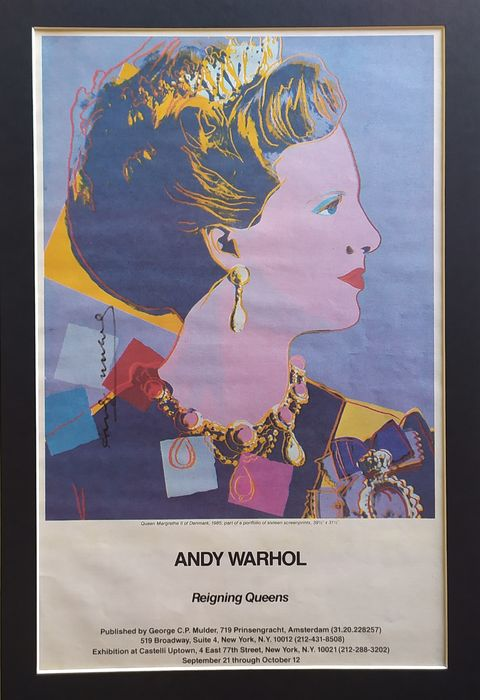 "Castelli Uptown - Andy Warhol - Margrethe II - Announcement of ""Reigning Queens"" -  Castelli Gallery exhibition - 1985"