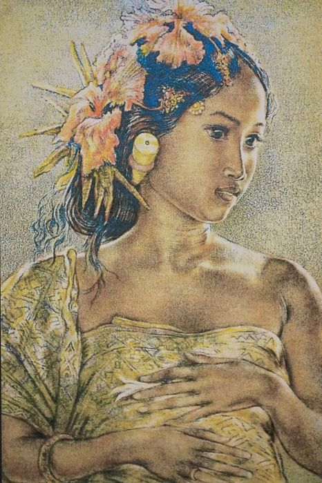 Portrait of a young Balinese beauty - Willem Gerard Hofker (1902-1981) - Lithograph - Indonesia