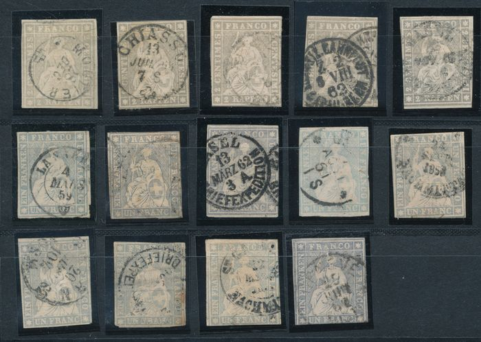 Switzerland 1862/1867 - Strubels, 450 stamps on fifteen stock cards