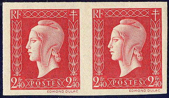 France 1945 - Dulac pair imperforate 2 f. 40 red with Certificate Roumet - Yvert 693a