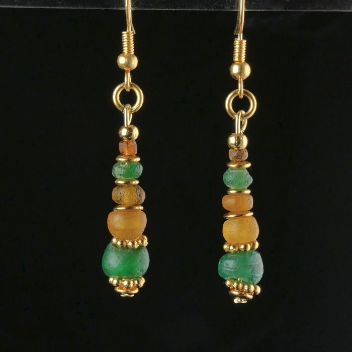 Ancient Roman Glass Earrings with green and amber colour glass beads - (1)