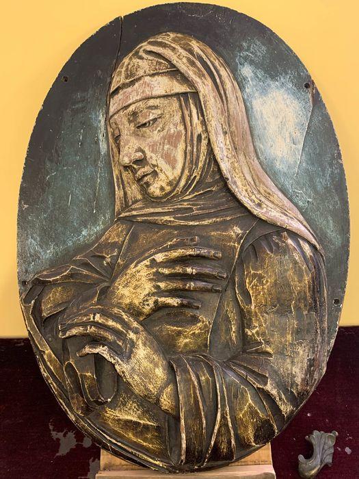 Polychrome carved wooden bas-relief - 70 cm - Wood - 19th century