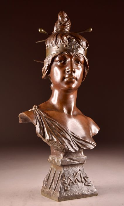 "Georges Charles Coudray (1863 - 1932) - Ch Gautier Bronzier France - Large oriental bust of a young woman ""Bakie"" - 64 cm - Bronze (patinated) - about 1900"