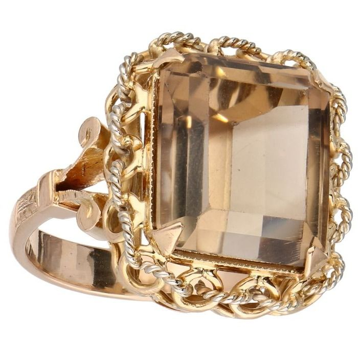 18 kt. Pink gold - Ring Smoky quartz