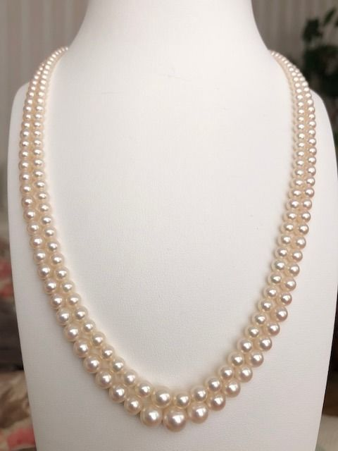 14 kt. Akoya pearls, 7.15-3.13 mm - Necklace