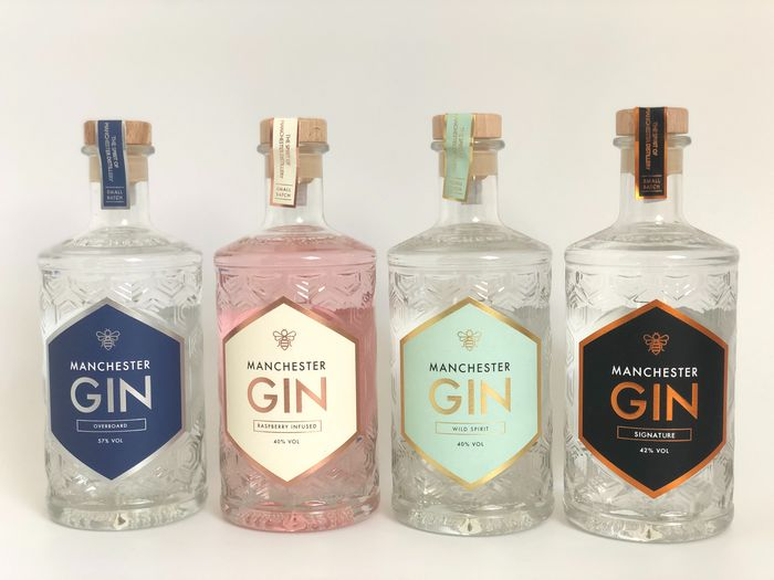 Manchester Gin - Signature, Raspeberry Infused, Wild Spirit & Overboard - 500ml - 4 bottles