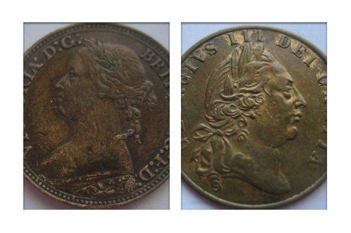 "United Kingdom - Victoria and George III,  Farthing 1880 and ""Guinea"" Token 1797 - Copper"