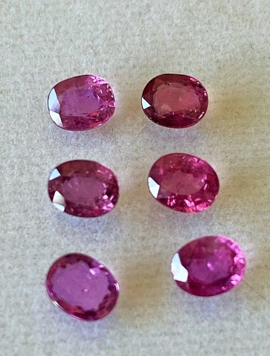 6 pcs Red purplish Ruby - 3.40 ct